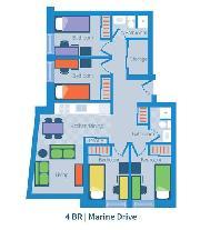 Marine Drive UBC dorm 4 bedroom layout